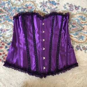 Purple Corset or Bustier with Boning Size Large